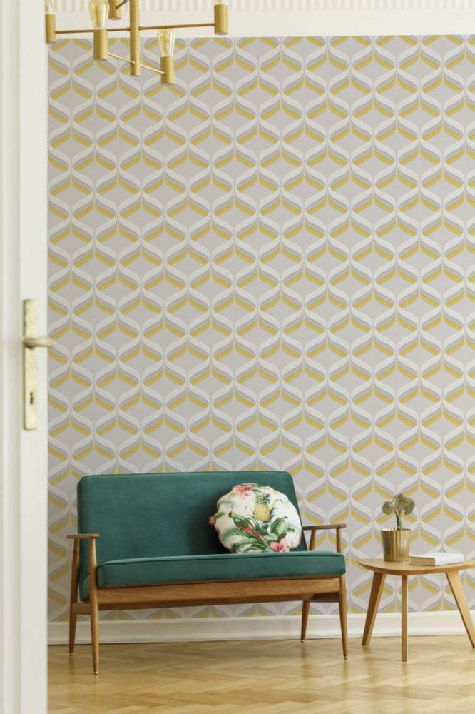 Graham and Brown Retro Ogee Ochre 107978 Wallpaper